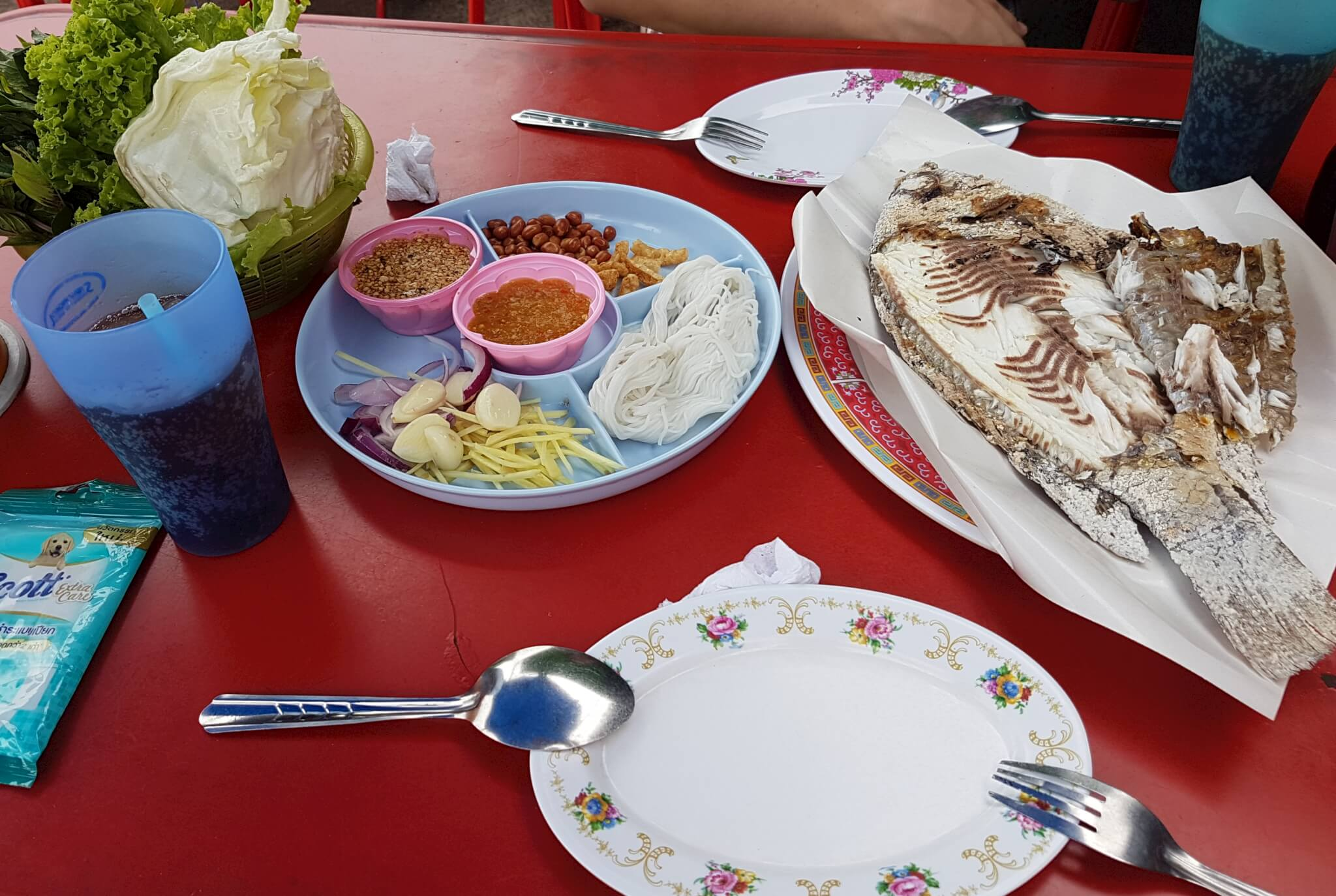3 ужин рыба удон тани Поездка за визой из Бангкока во Вьентьян самостоятельно. Бангкок визаран.